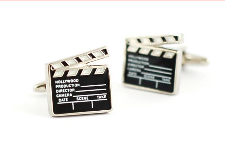wholesale cufflinks silver movie SLATE ,film black cufflink Men's fashion brand design cufflinks(China (Mainland))