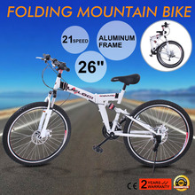 "FOLDING MOUNTAIN BIKE 26"" 21 SPEED MTB BICYCLE New 26"" Folding 21 Speed Mountain Bike Bicycle Shimano School Sport White(China (Mainland))"