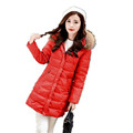 2016 New Winter Down Jacket Parka Women Faux fur Collar Hooded Duck Down Coat Slim Big