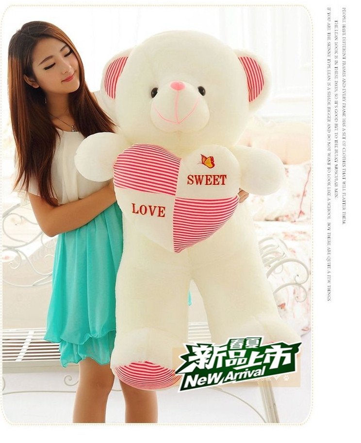 High Quality New Arrival Heart Big Plush Teddy Bear Giant Stuffed Animals Soft Toy For Baby Birthday&New Year Gift(China (Mainland))