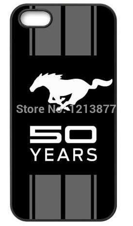 Free Shipping Custom Car Ford Mustang Logo 50 YEARS Protective TPU rubber Case Cover For iphone 4 4s(China (Mainland))