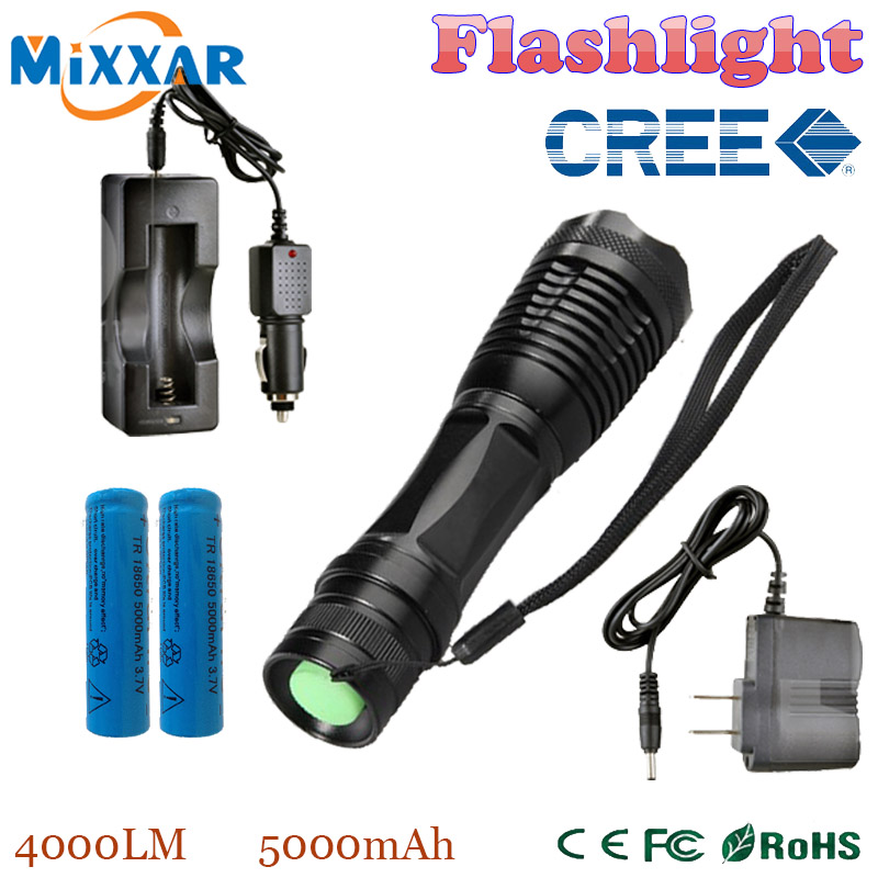 zk20 e17 CREE XM-L T6 LED 4000LM E17 Aluminum Torches Zoomable LED Flashlight Torch Lamp contain two batteries two chargers<br><br>Aliexpress