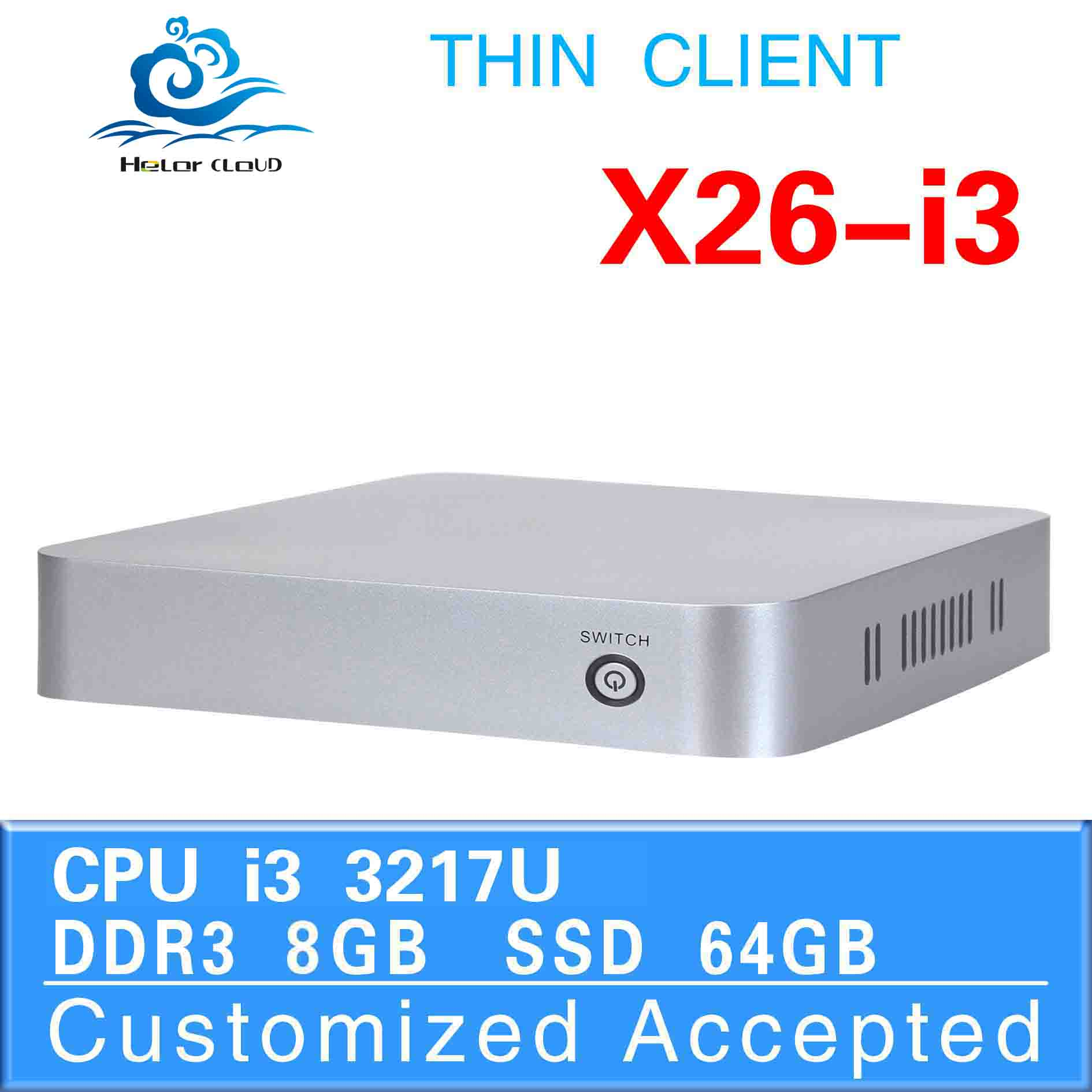 Core i3 3217u Fanless Design support Linux OS Ubuntu desktop pc mini itx case pc game 8G RAM 64G SSD(China (Mainland))