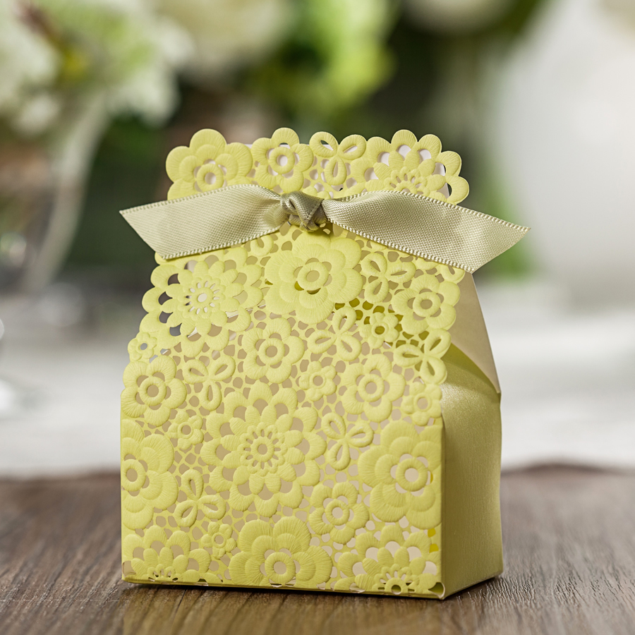 50X Luxury Wedding Party Birthday Favours Sweets Boxes Bags - Lemon Yellow All Lace Laser Cut(China (Mainland))