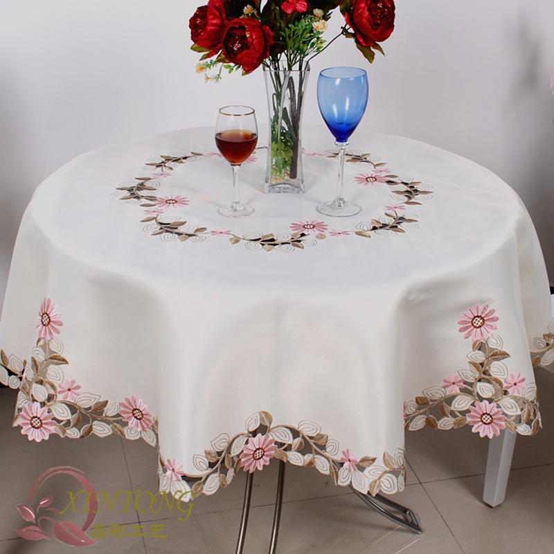 #815 Square Round embroidery Tablecloth table cloth dinner mat Europe polyester Mat table cover wholesale FG212(China (Mainland))