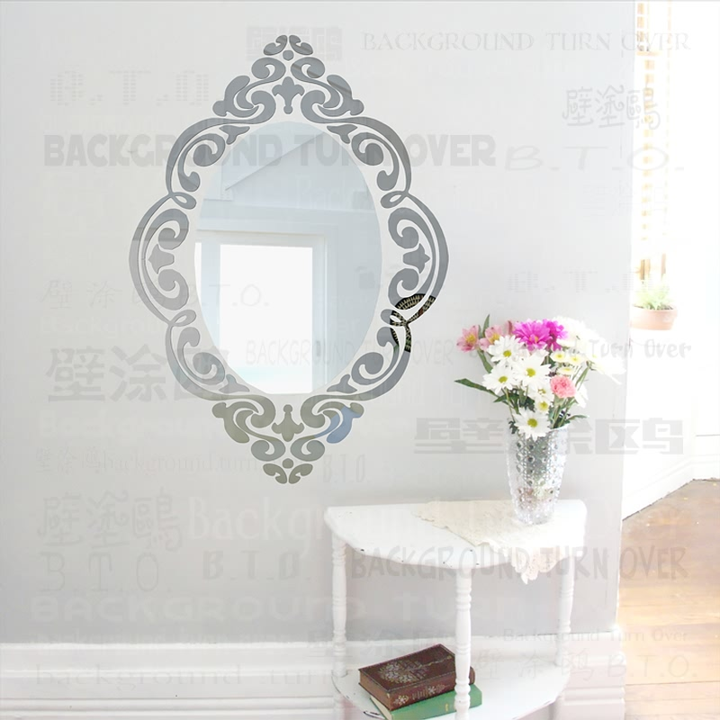 Creative European style <font><b>elegant</b></font> oval mirror frame totem vintage wall sticker for bedroom sofa corner <font><b>decoration</b></font> of <font><b>home</b></font> HYR-009