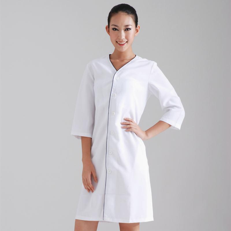 2016 New Nursing Femininos Beauty Salon Medical Scrub Nurse Uniform Spa White Overcoat Dental Clinic Lab Coat Free shipping(China (Mainland))