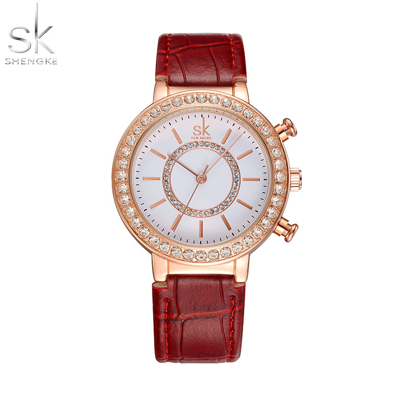 sk woman watch fashion casual quartz leather belt wristwatch with waterproof hours montre femme. Black Bedroom Furniture Sets. Home Design Ideas