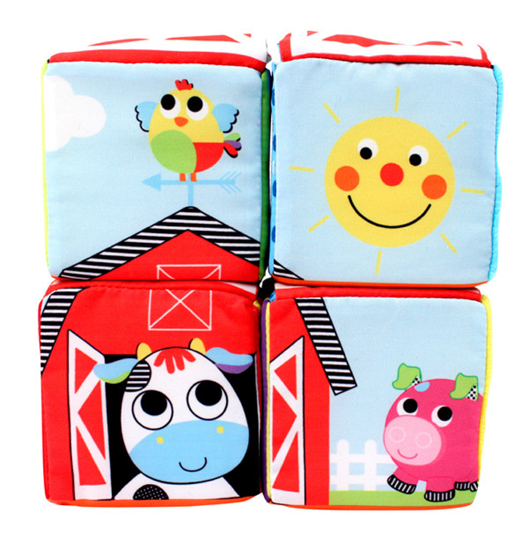 1 PC Baby Toy Infant Cloth Building Blocks Educational Toys Early Learning Toys Education Soft Play Cubes animals figure letter(China (Mainland))