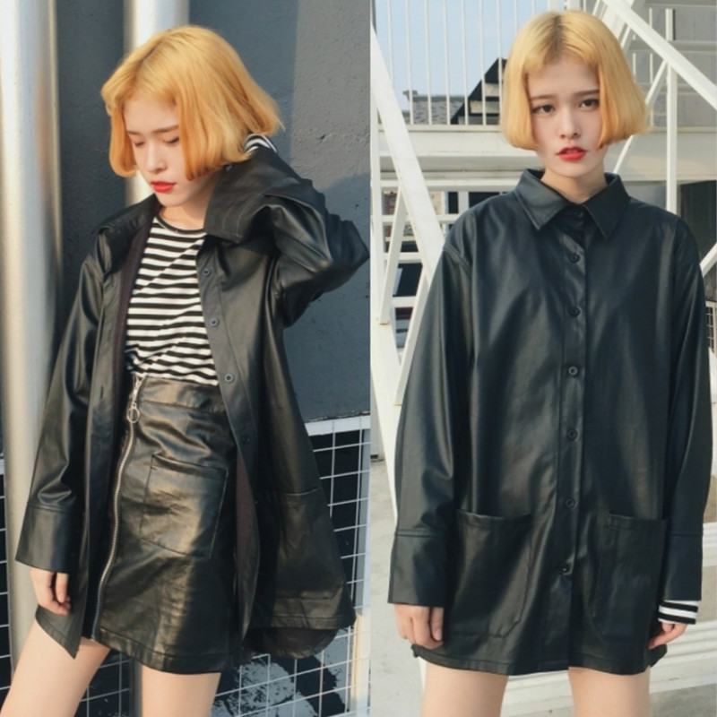 Women All Match Trench Coat Hot PU Shirts Tee Jacket Polo Neck Long Faux Leather Water Proof Fashion Black Hot Boyfriend Style(China (Mainland))