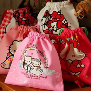 Kawaii Hello Kitty Cotton Fabric Drawstring Bag Storage Bag Organizer Pouch KCS(China (Mainland))