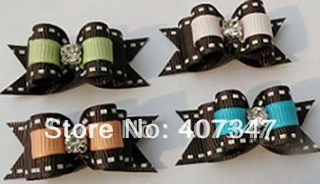 MOQ 100pcs can mix colors,lovely crystal ribbon pet barrettes dog hairclip(China (Mainland))