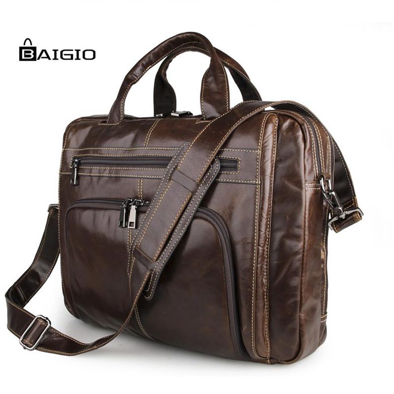 Baigio High class Top Genuine Leather Men's briefcase shoulder bag Messenger bag Leather Briefcase Men business Case laptop Bag(China (Mainland))