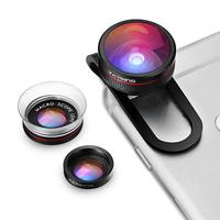 VicTsing Clip-on Phone Lens Fisheye Lens+12X Macro +24X Macro Lens 3 in 1 Lens Kit for iPhone 6S Plus 6 Samsung (No Lens Box)