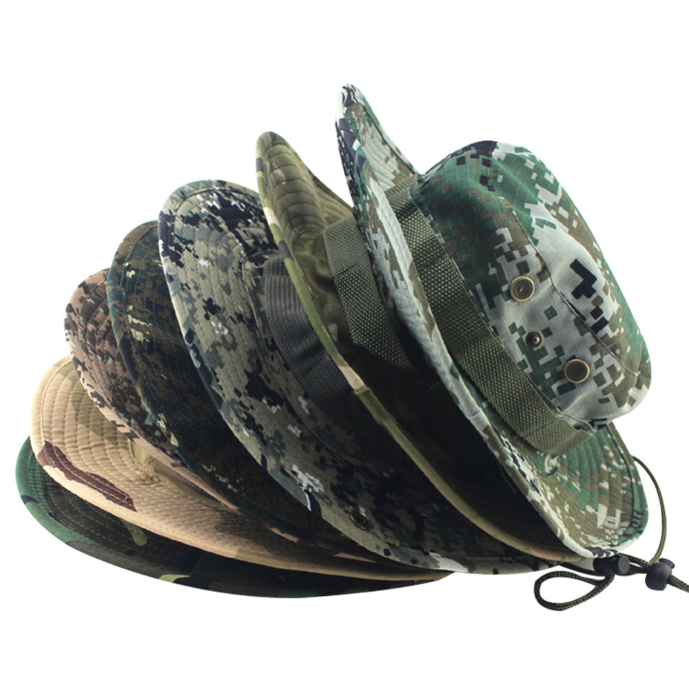 8 colors military camouflage bucket hats jungle camo for Camo fishing hat