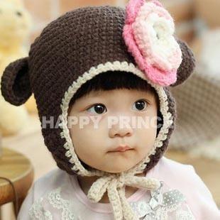 Free shipping winter little monkey knitting wool hats baby pocket beanie boy children earflap girl skullcap retail Lc13082906