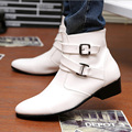 British Style Genuine Leather Male Boots Black White Fashion Trend Pointy Martin Boots Winter Mens Casual