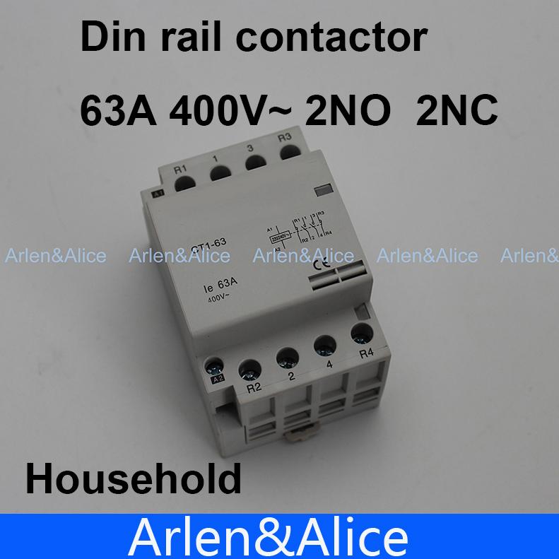 CT1 4P 63A 2NC 2NO 220V 400V~ 50/60HZ Din rail Household ac contactor(China (Mainland))