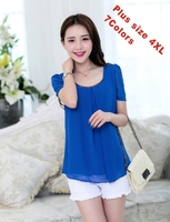 2014 Chiffon women blouses top Summer short-sleeve shirt plus size 4XL 8colors