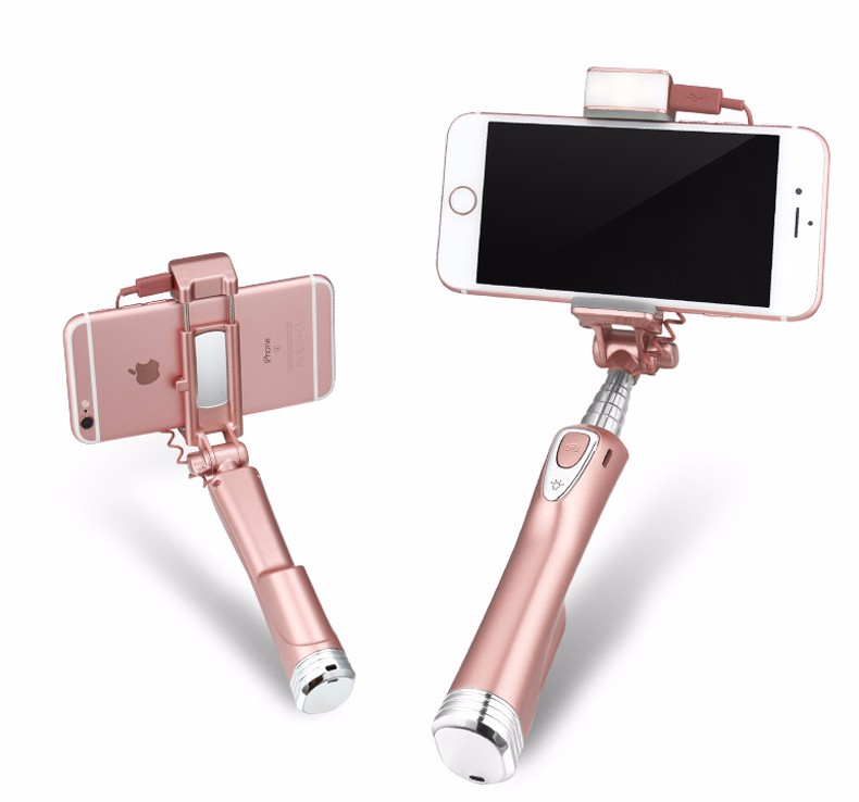 image for Ulanzi Selfie Stick With Rear Mirror,Light And Bluetooth Remote Shutte