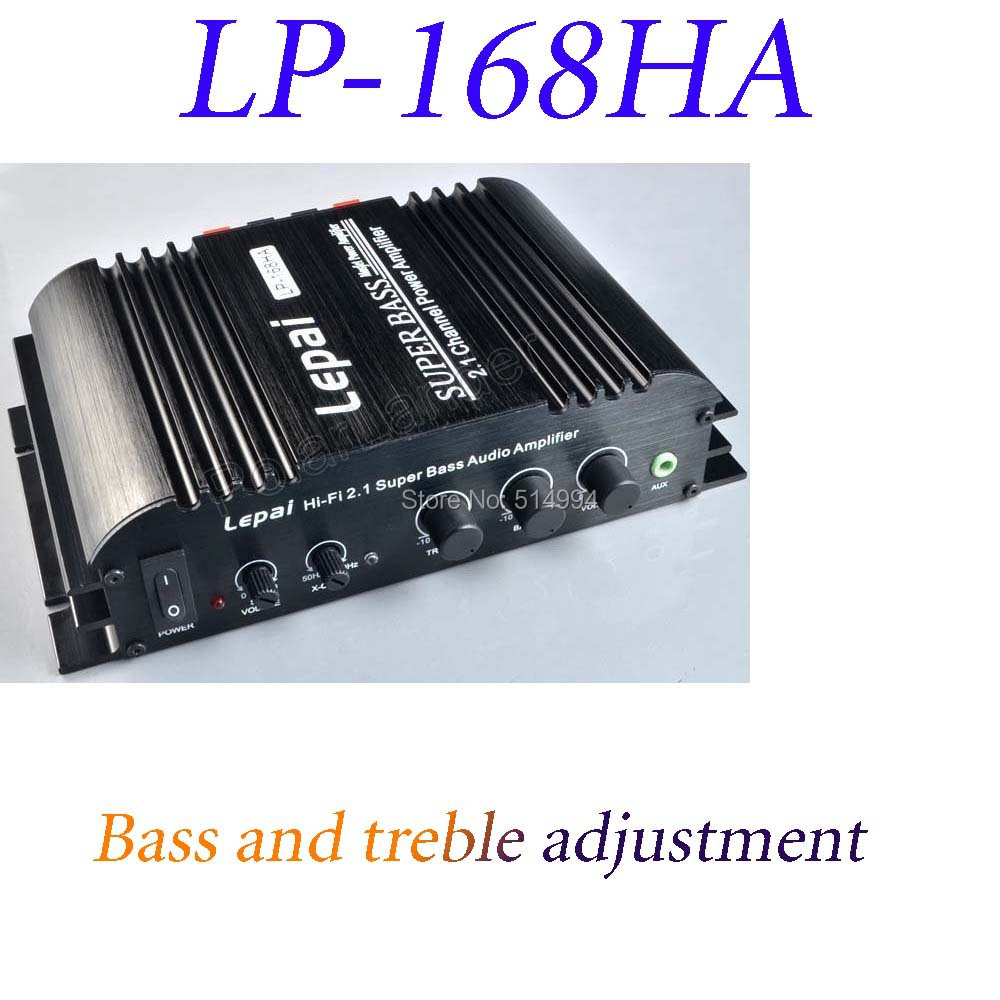 LEPAI 168HA 2.1 home amplifier 12V with bass adjustment mini car amplifier for MP3 MP4 Car Motorcycle Bike Free shipping(China (Mainland))