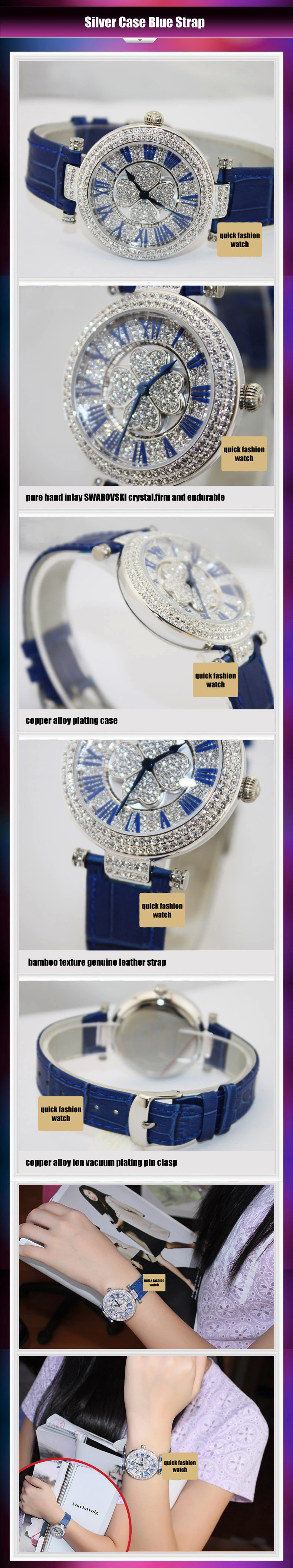 fashion lucky clover diamond dial genuine leather strap lady watch