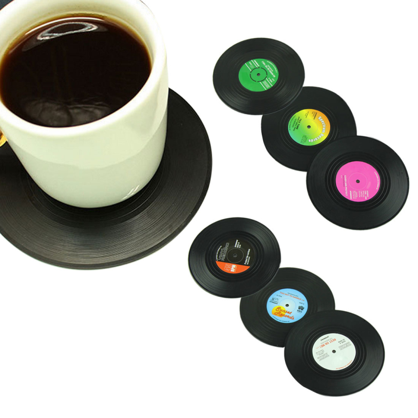6 Pcs/ set New Arrival Home Table Cup Mat Creative Decor Coffee Drink Placemat Spinning Retro Vinyl CD Record Drinks Coasters(China (Mainland))
