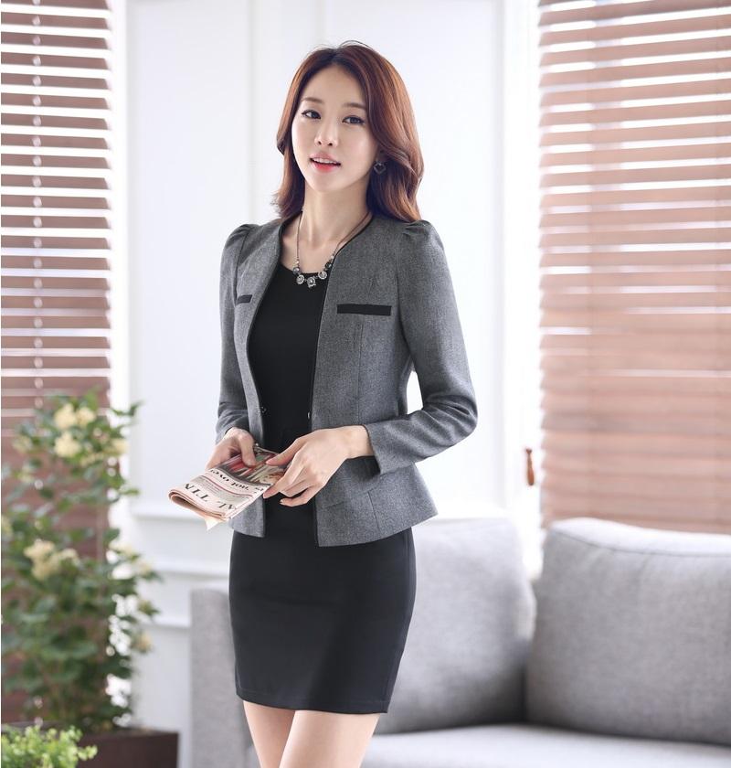 Formal trajes de vestir para mujer para mujeres trajes de negocios chaqueta gris conjunto Beauty ...