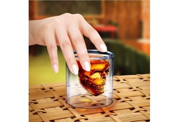 2017MONIXI Crystal Glass Vodka Whiskey Skull Head Shot Cup Drinking Ware Home Bar TY665(China (Mainland))