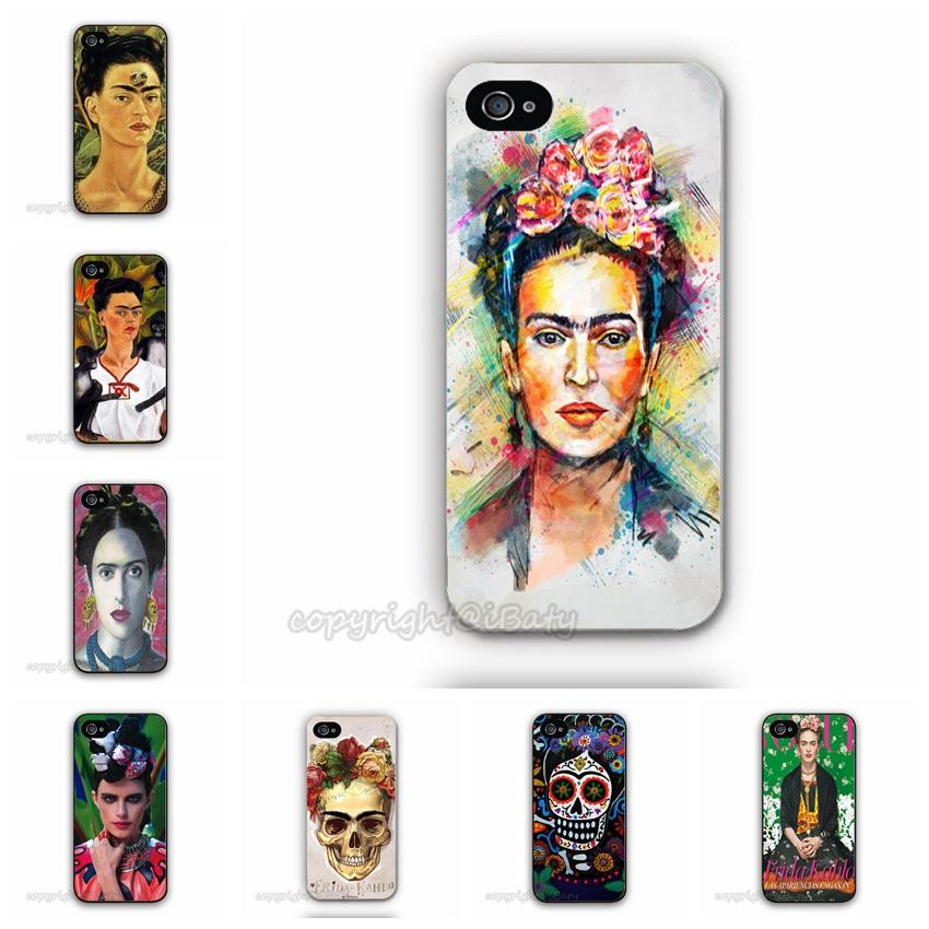Fab Ciraolo Frida Kahlo Woman Skull Case For iPhone 5C Painting Plastic Mobile Phone Back Protective Cover(China (Mainland))