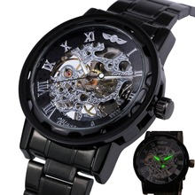 HOT Classic Vintage Luxury Business Steampunk Roman Men's Skeleton Mechanical Watch Black Metal Strap Roman Dial Lover Gift+ BOX