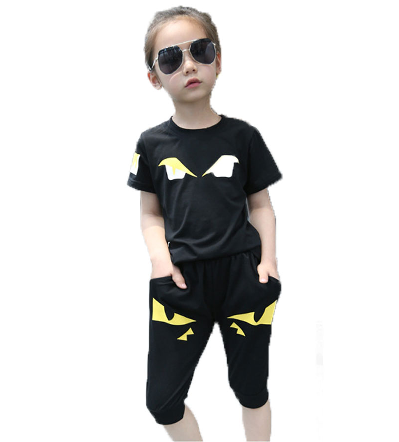 Boys And Girls Summer Clothing Sets Little Monsters Pattern Clothes Children's Tracksuit Kids Suit(China (Mainland))