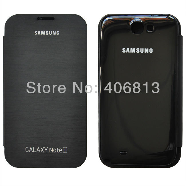Flip leather case with battery back cover for Samsung Galaxy Note II 2 N7100 Free Shipping 10pcs