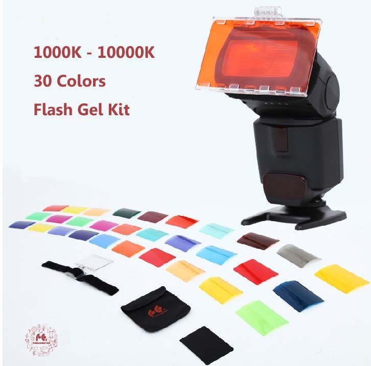 FalconEyes CFA-30K Flash Speedlite 30 Colors Color Gel Kit with Barndoor & Reflector & Bag for Canon Nikon YONGNUO GODOX(China (Mainland))
