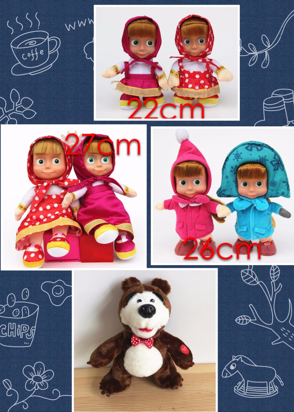 100%plush New Arrival Russian Masha and Bear plush Dolls Baby Animals Gift -Style Children Best Stuffed & Plush have stock(China (Mainland))