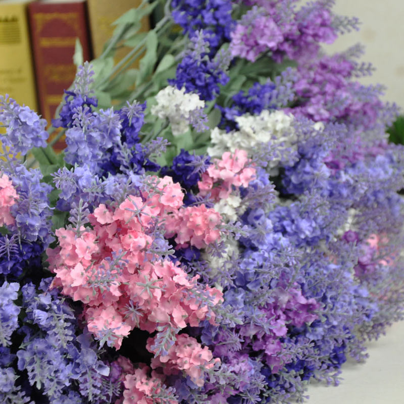 Free shipping 5pcs Lavender rustic home decoration flower silk flower artificial flower 5 colors(China (Mainland))