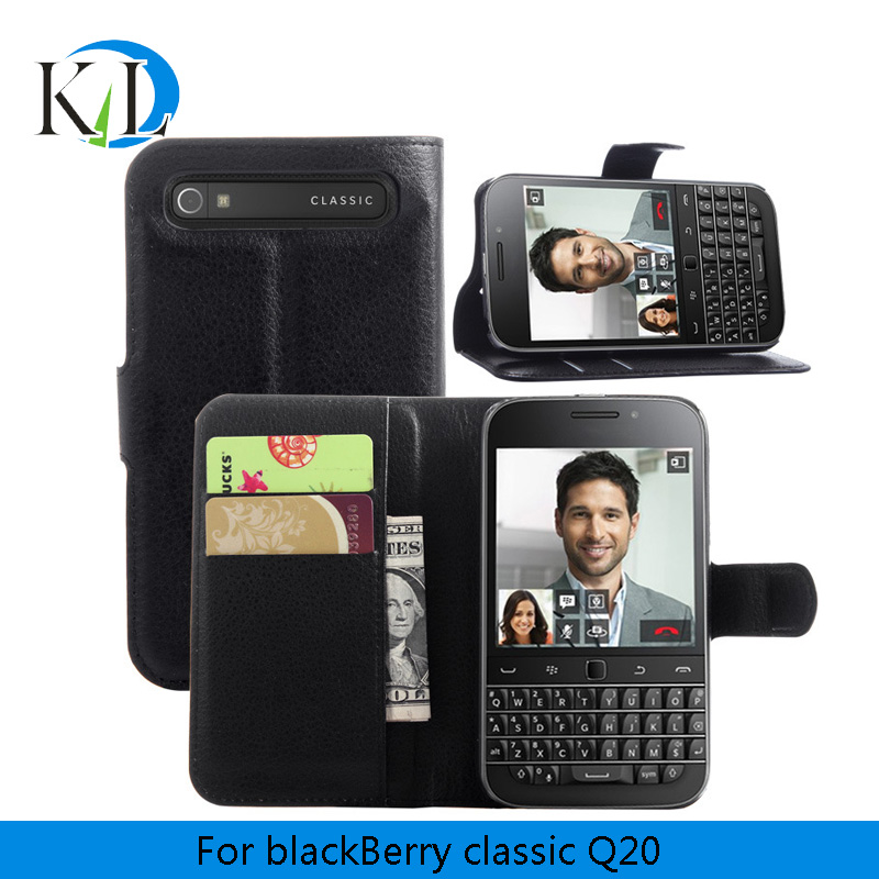 Free Gift Hot Selling Wallet Style PU Leather Case for Blackberry Classic Q20 with Stand Function Card Holder for Q 20(China (Mainland))