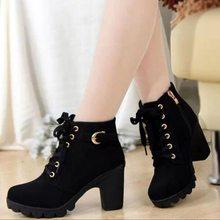2019 Yeni Sonbahar Kış Kadın Çizmeler Yüksek Kaliteli Katı dantel-up Avrupa Bayan ayakkabıları PU Moda yüksek topuklu Çizmeler büyük boy 35-43(China)