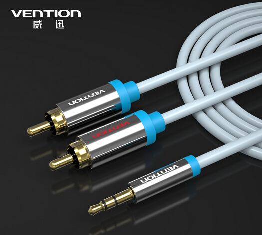 Vention 1.5M blue 2RCA to 3.5mm Male aux cable Gold Plated 3.5 jack RCA audio cables headphone aux jack splitter for iphone(China (Mainland))