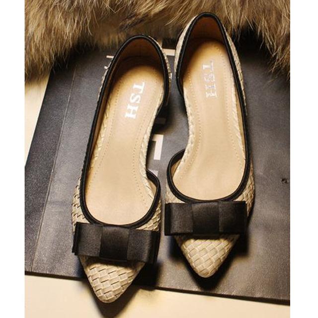 Бабочка узел острым носом весна и осень квартир женщин бренд обуви женские квартиры ...