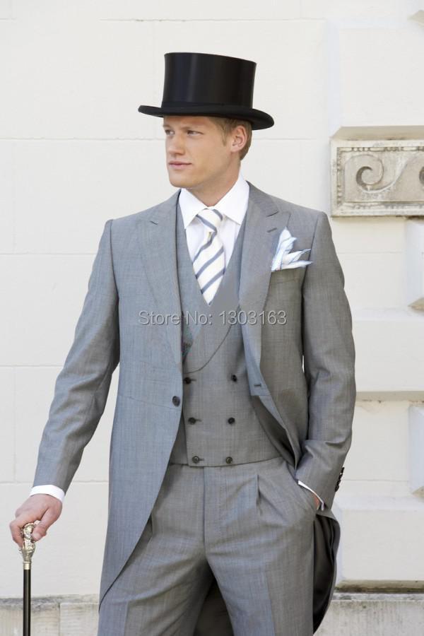 2014 Suit Light gray One button Peak Lapel Groom Tuxedos Best Man Suits Groomsmen Men Wedding Suits Jacket+Pants+Vest+TieОдежда и ак�е��уары<br><br><br>Aliexpress