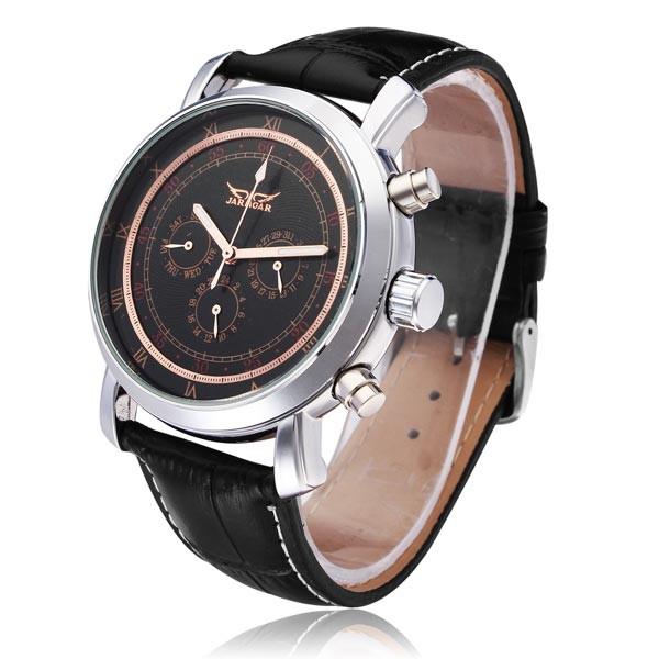 Jaragar бренд класса люкс автоматическая механическая мода Black3 циферблат искусственная кожа мужские наручные часы мужские часы 2016 New бесплатная доставка