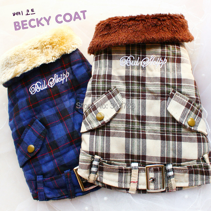 Free shipping Scottish font b tartan b font Faux fur collar cashmere lining dog coat jacket