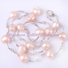 """HOT FREE SHIPPING FASHION FINISHED 6-8MM FREEFORM NATURAL PINK PEARL BEND WHITE GOLD PLATED NECKLACE 16""""(China (Mainland))"""