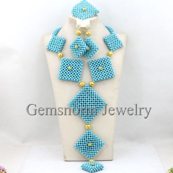 Handmade Chunky Turquoise Nigerian African Beaded Jewelry Set Wedding Necklace Set Free Shipping WB396<br><br>Aliexpress