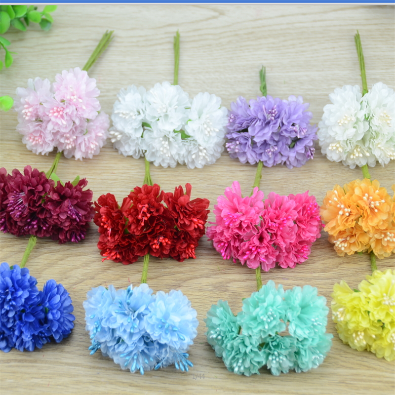 6pcs/lot Cheap Mini Silk Rose Artificial Silk Flowers Bouquet Wedding Decoration For DIY Scrapbooking Fake corsage Daisy Flower(China (Mainland))