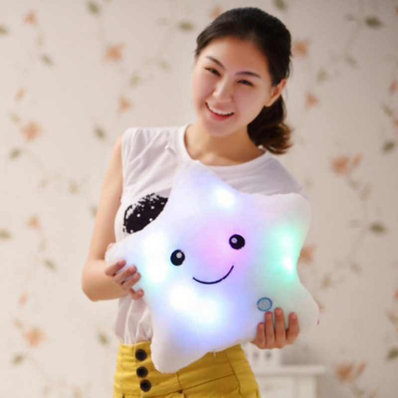 New Fashion Women Kids Decorative Flashing LED Light Smiling Star Soft Cushion Pillow(China (Mainland))