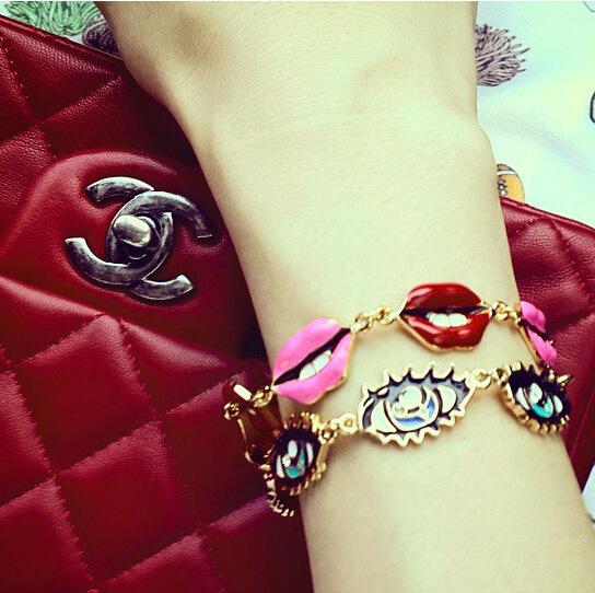 New Fashion Women Sexy Red Lips Bracelet Eyes Charm Bracelet Oil Painting Bracelet QW1403(China (Mainland))