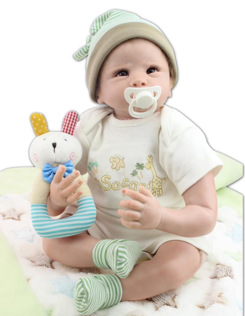 22inch Lifelike Silicone Reborn Baby Doll Boy Alive Handmade with Kits Kids Playhouse Toy Gifts Women Collects(China (Mainland))