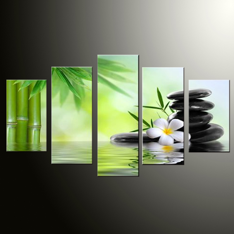 5 Panel Large Poster HD Printed Painting Bamboo and Stone Spa Canvas Print Art Home Decor Wall Art Pictures for Living Room(China (Mainland))
